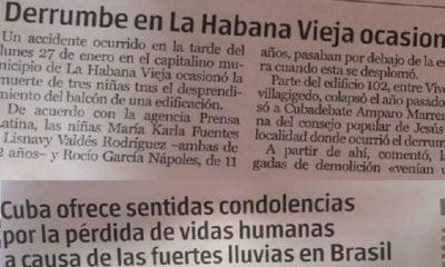 Imágenes de artículos publicados por la prensa oficialista cubana