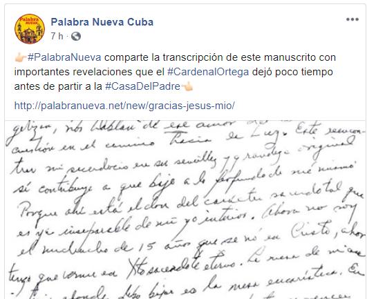 Manuscrito Jaime Ortega.