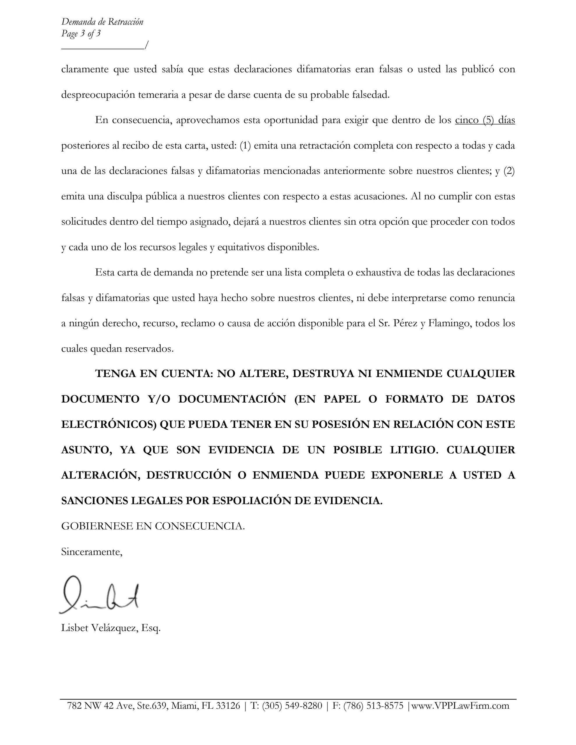 abogados del Flamingo Theatre Bar y TV Radio envian carta a Edmundo Garcia (2)