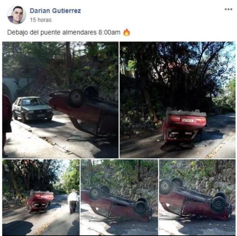 Accidente en el puente Almendares deja volcado a un auto Lada