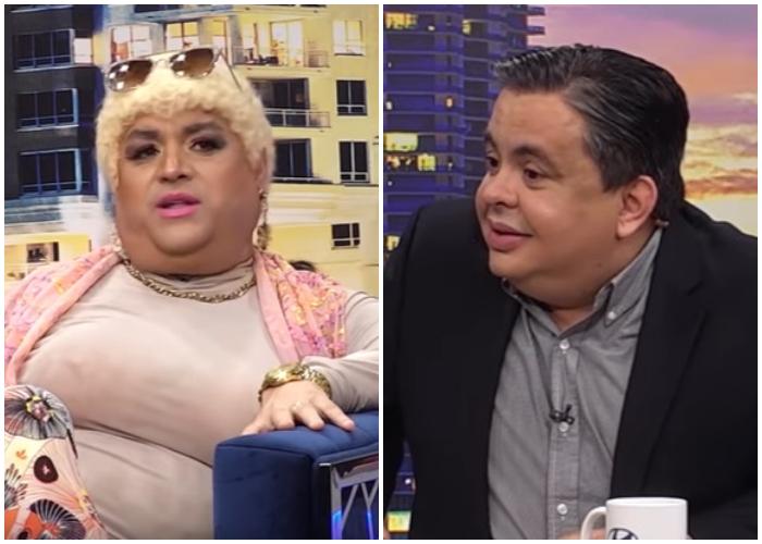 Carlucho y Andy Vázquez interpretando su personaje de Lina la Javá