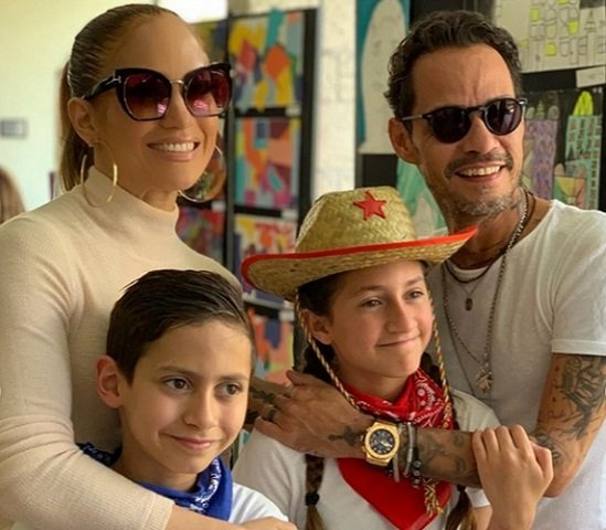Jennifer Lopez, Marc Anthony and their children Emme and Max