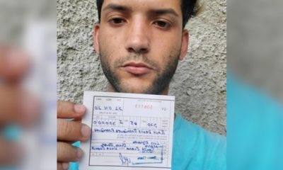 Fotografía del joven con la multa