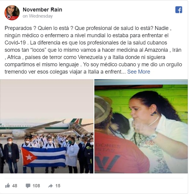 """Doctora cubana responde críticas de Italia, """"Nos formamos con estómagos vacíos y libros viejos"""""""