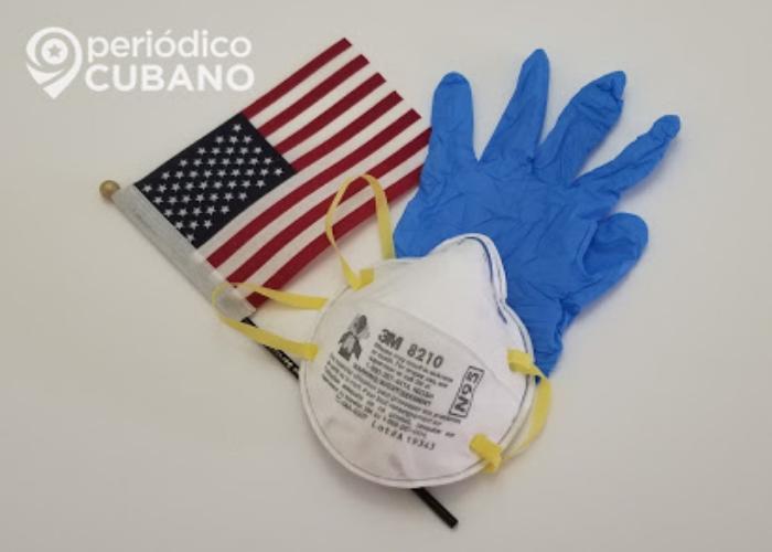 Nasobuco, guantes y bandera de EEUU