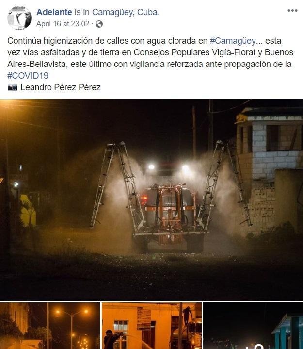 Post de Facebook, calles de Camagüey siendo limpiadas