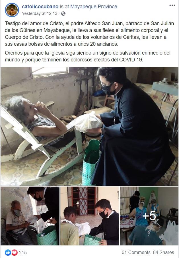 Publicación padre cubano alimenta ancianos en Mayabeque