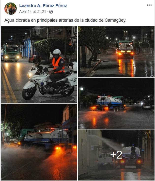 Publicación de Facebook, limpieza den las calles de Camagüey.