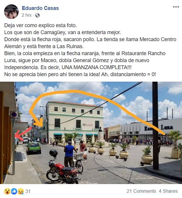 Publicación de la cola para comprar pollo en Camagüey