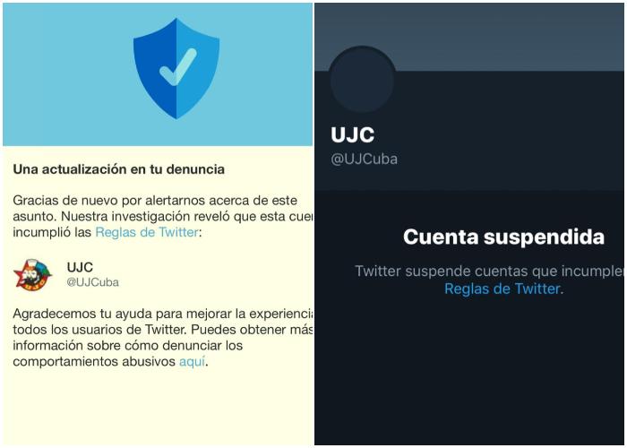 Twitter suspende cuentas relacionadas con la UJC