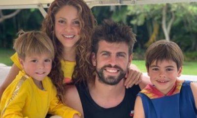 Shakira junto a Gerard Piqué y sus dos hijos
