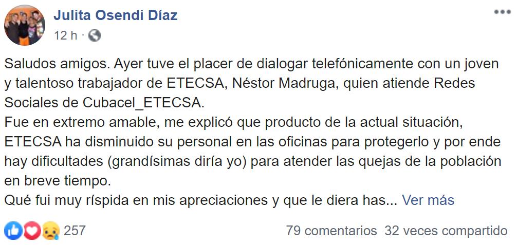 ETECSA responde a la queja de Julita Osendi