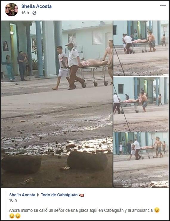 Cubano cae del techo en Cabaigúan y no hay ambulancia para llevarlo al hospital