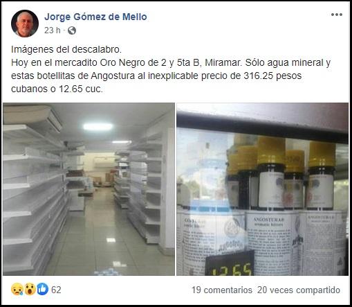 Escasez en Cuba, mercadito Oro Negro solo tiene para ofertar agua mineral y Angostura