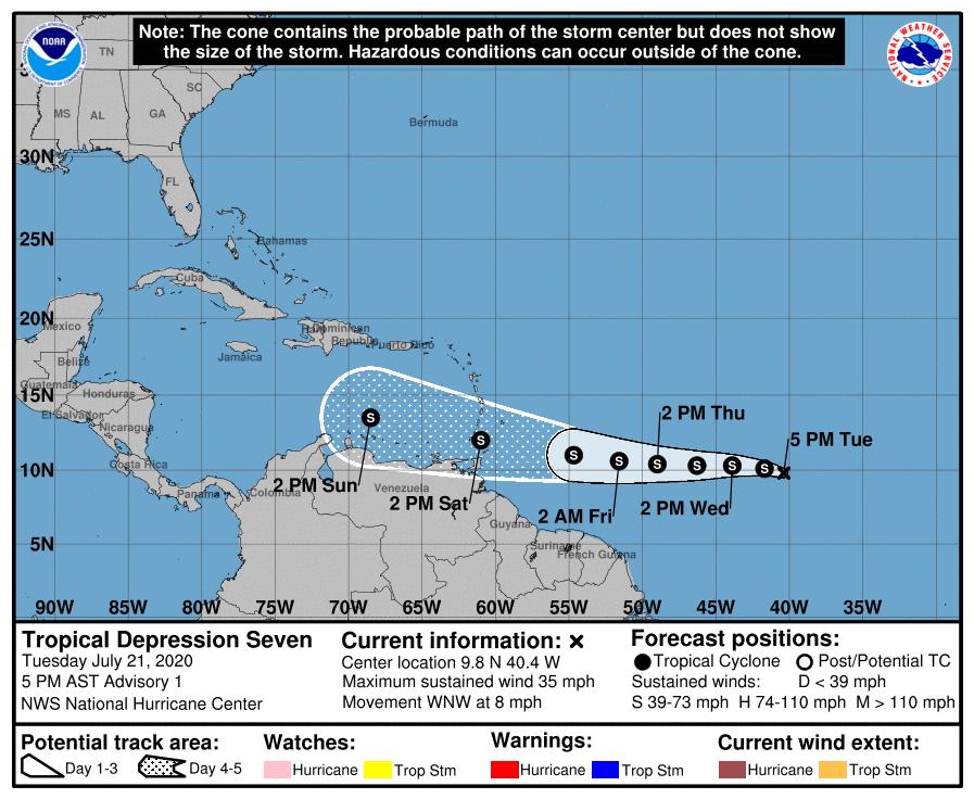 Depresión tropical No. 7 ingresaría al mar Caribe