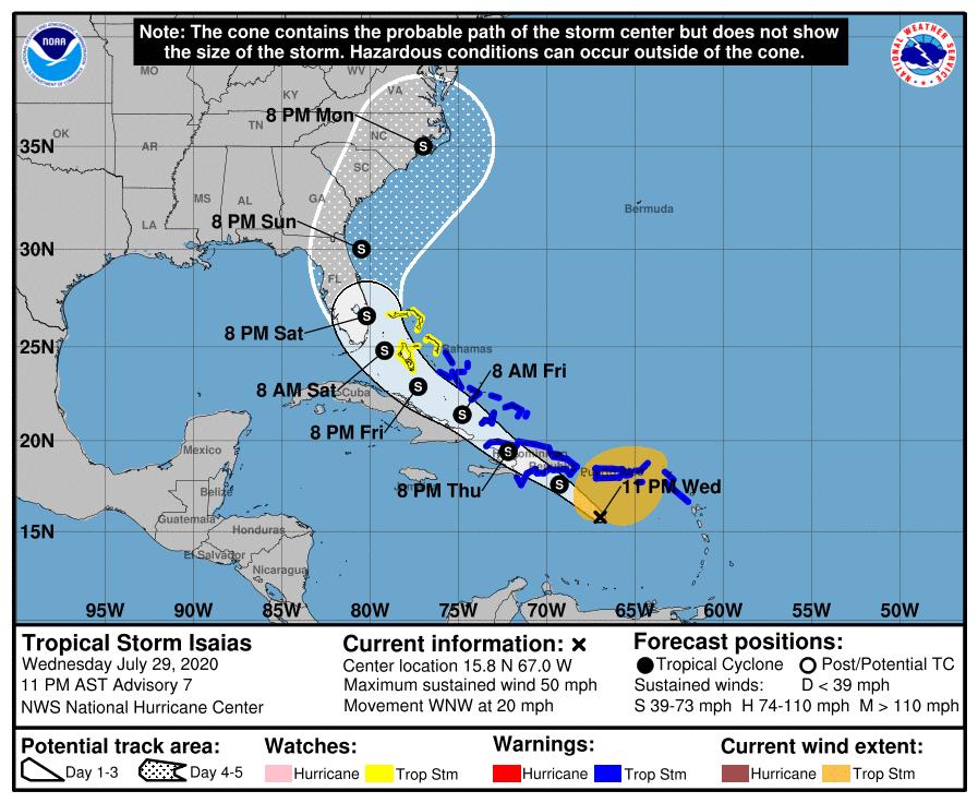 Emiten primer aviso sobre la tormenta tropical Isaías