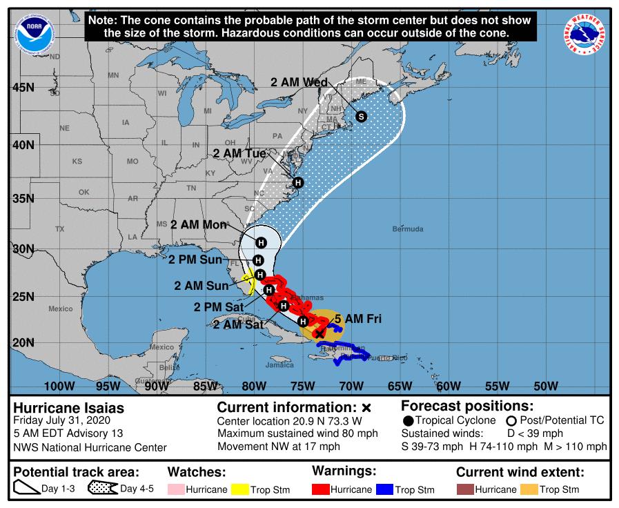 Isaías se convierte en Huracán en su avance hacia la costa este de la Florida