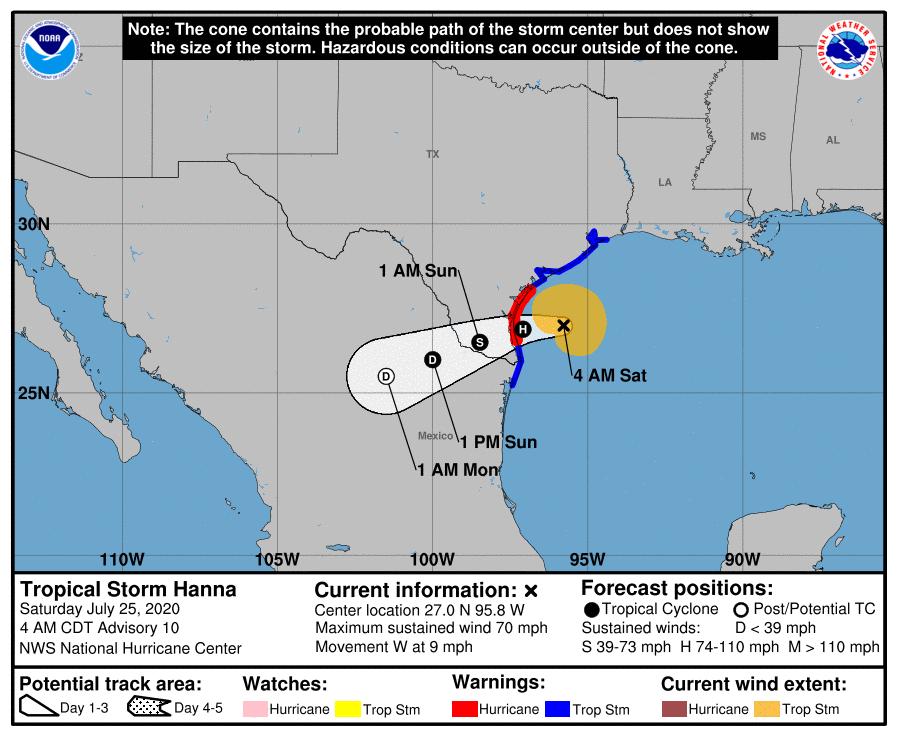 La tormenta tropical Hanna impactará a Texas como huracán