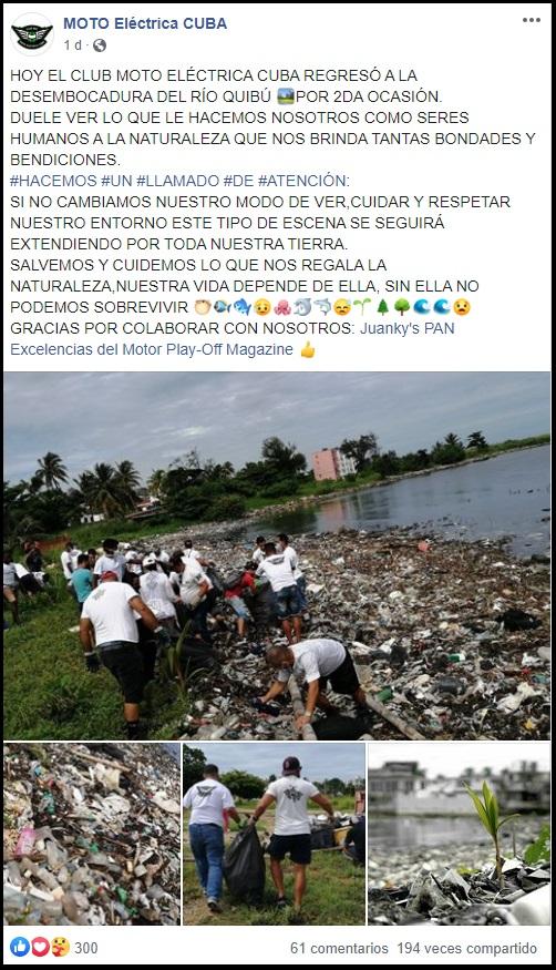 Ambientalistas y aficionados cubanos a los autos limpian el Río Quibú