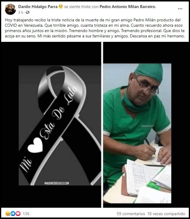 Fallece otro médico cubano en Venezuela tras contagiarse de COVID-19