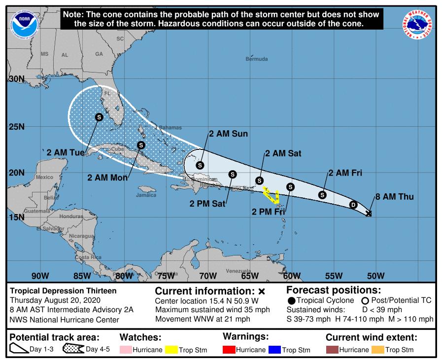 Cuba y la Florida estarían la trayectoria de una potencial tormenta tropical