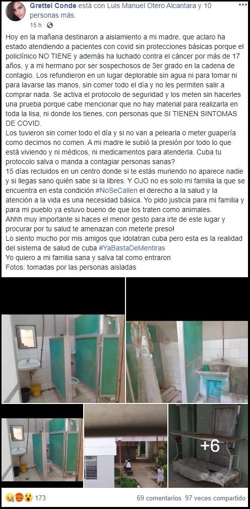 """Denuncian terribles condiciones de un centro de aislamiento en La Habana: """"Un lugar deplorable"""""""