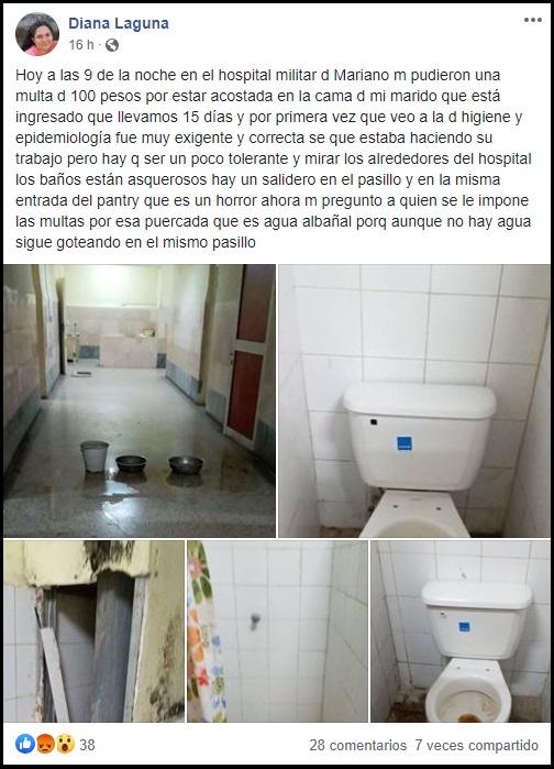 Denuncian las terribles condiciones higiénicas del hospital militar de Marianao