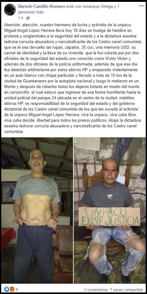 Opositor en huelga de hambre desde hace 20 días, reclama pertenencias robadas durante arresto