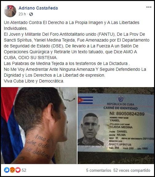 Tatuaje de opositor cubano desata persecución y acoso por parte de las autoridades