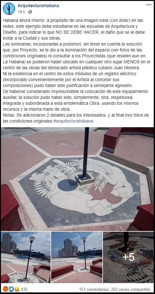 Destruyen obras de artistas plásticos en La Habana para colocar farolas