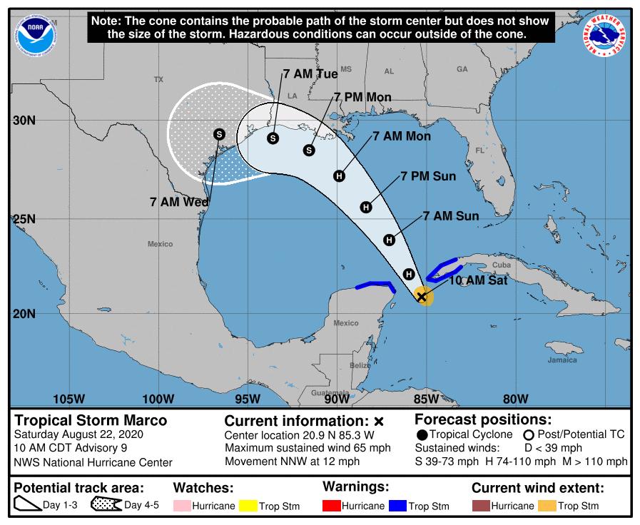 Tormenta tropical Marco gira su trayectoria para acercarse a Pinar del Río