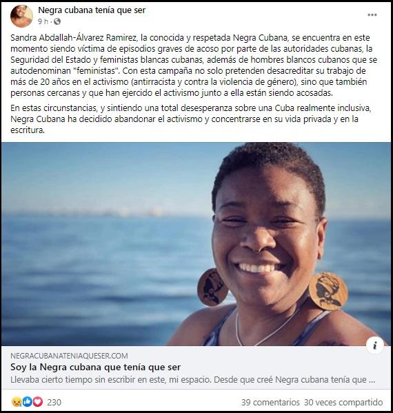 Activista cubana que lucha contra el racismo renuncia por amenazas de la Seguridad del Estado