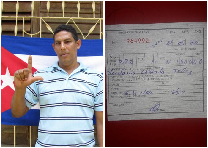 Activista multado por tener una fotografía de José Daniel Ferrer en la puerta de su casa