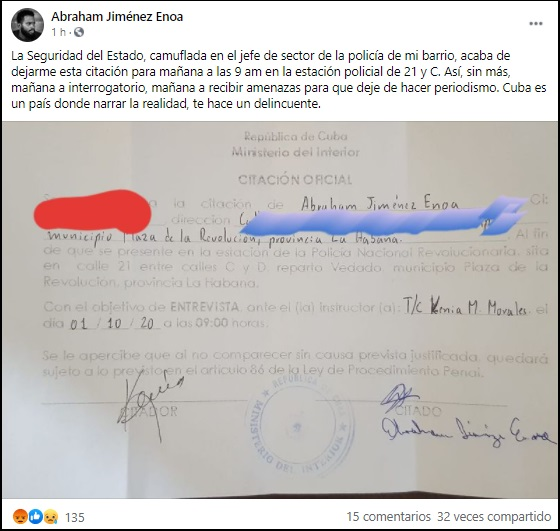 """""""En Cuba narrar la realidad te hace un delincuente"""": Periodista independiente denuncia citación arbitraria"""