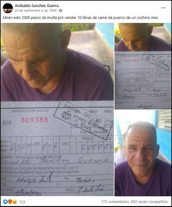 Cubano multado por vender la carne de un cerdo que él crio