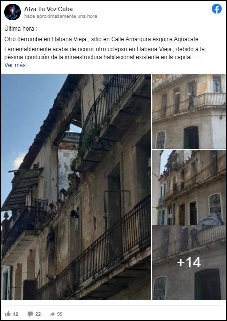 Reportan un nuevo derrumbe parcial en edificio antiguo de La Habana Vieja