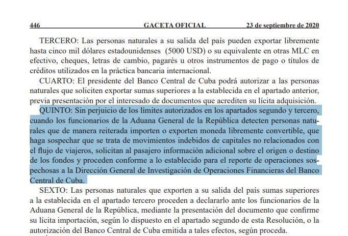 Gaceta Oficial Viajeros desde y hacia Cuba que posean dólares serán sospechosos