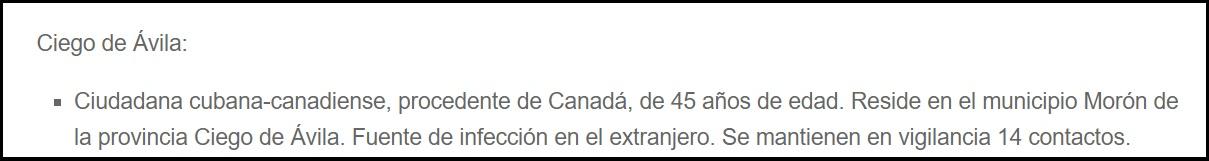 Cubana canadiense entre los casos positivos de COVID-19 en Ciego de Ávila