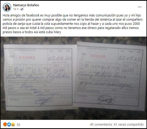 Madre cubana denuncia que ella y su hijo podrían ir presos por multa arbitraria