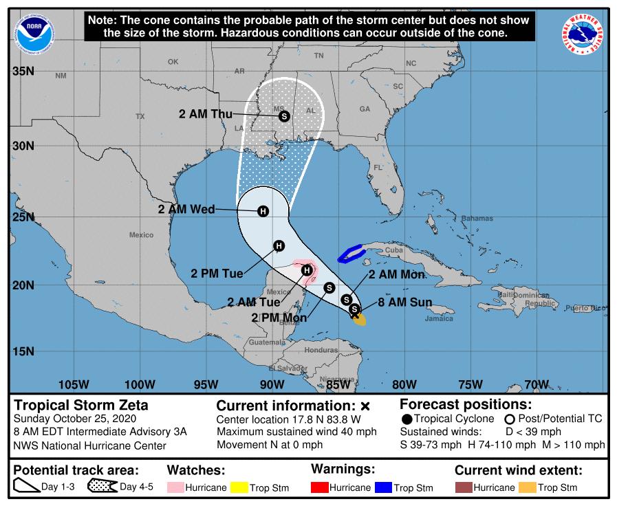 Aviso Especial: Tormenta tropical Zeta afectaría al occidente cubano