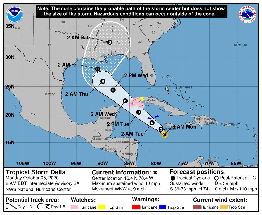 Aviso de Ciclón Tropical: Tormenta Delta avanza hacia el occidente de Cuba
