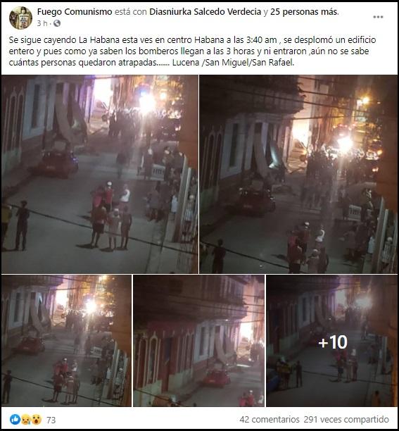Edificio de tres pisos se derrumba en Centro Habana