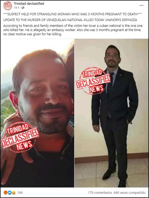 Funcionario cubano de la Embajada de Venezuela en Trinidad y Tobago asesina a su pareja