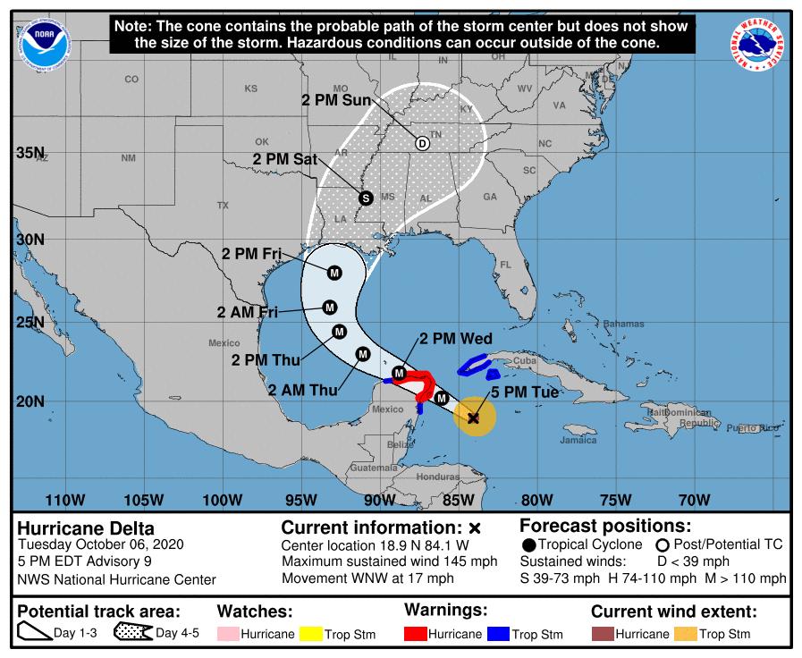 Extremo occidental cubano en Alarma Ciclónica por el huracán Delta