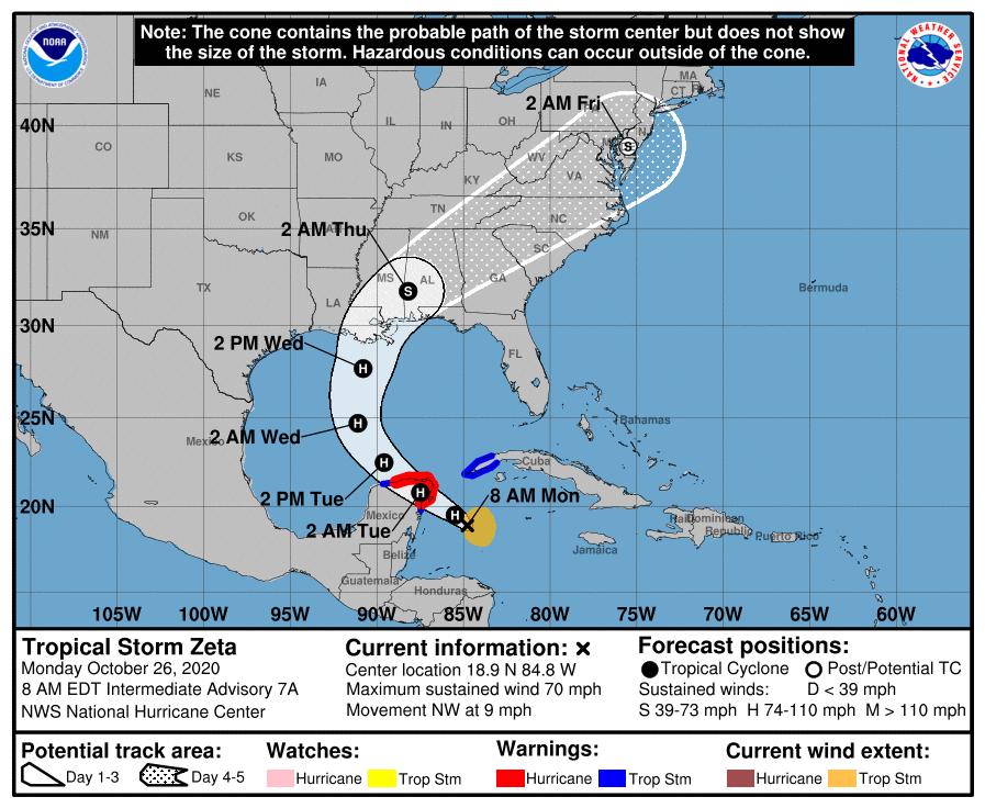 Pronostican fuertes lluvias en el occidente cubano por el potencial huracán Zeta
