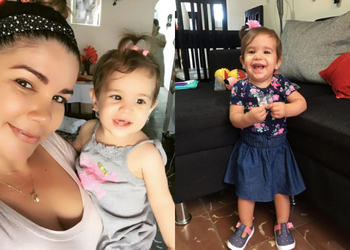 Yaima Caballero y su hija, Paloma