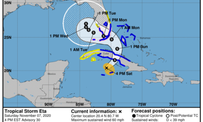 Aviso de ciclón tropical Eta se intensifica en su avance sobre Cuba