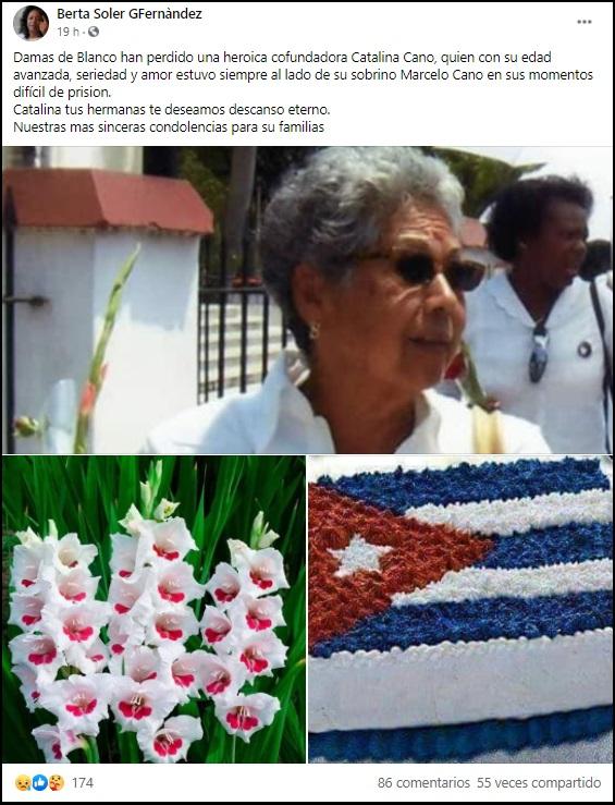 Fallece en Miami Catalina Cano, cofundadora de las Damas de Blanco