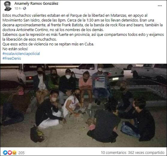 Detienen a jóvenes en Matanzas por plantarse a favor del Movimiento San Isidro
