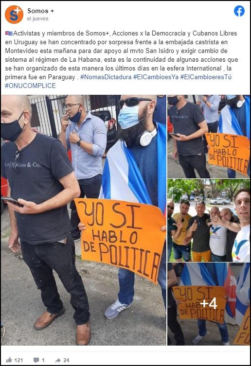 Cubanos en Uruguay se manifiestan frente de la embajada cubana a favor del Movimiento San Isidro